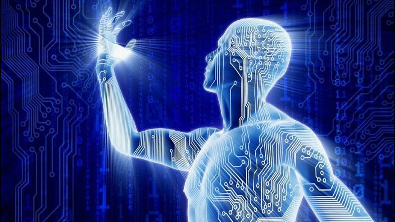 kolaż elektroniki i postaci człowieka