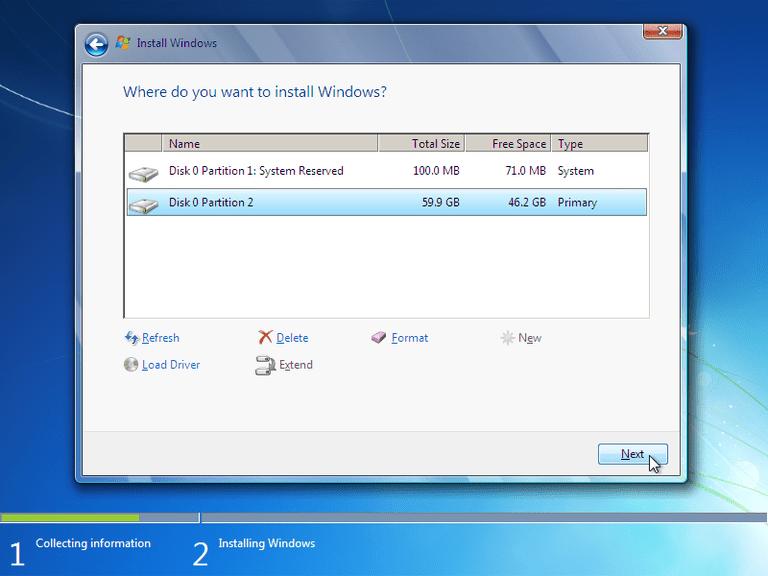 Formatowanie z płyty instalacyjnej Windows