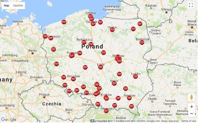 mapa polski z punktami przyjec MiP Data